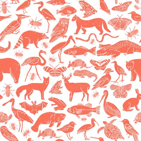 Coral Pattern Fabric linocut animals // coral animal fabric linocut birds botanical