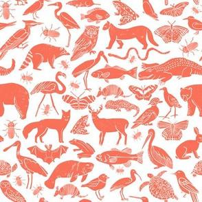 linocut animals // coral animal fabric linocut birds botanical nature print andrea lauren fabric nursery baby design