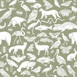 linocut animals //artichoke fabric botanical zoo animals fabric baby nursery