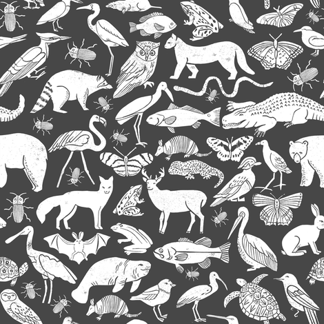 linocut animals // charcoal animals linocut nature baby nursery fabric cute charcoals fabric nursery design fabric by andrea_lauren on Spoonflower - custom fabric