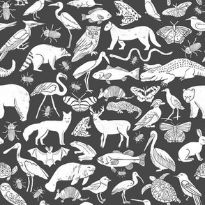 linocut animals // charcoal animals linocut nature baby nursery fabric cute charcoals fabric nursery design