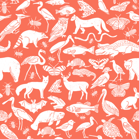 Coral Pattern Fabric linocut animals // coral animal fabric baby zoo animals design