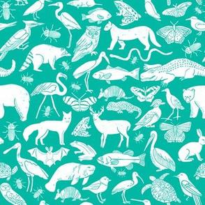 linocut animals // animal fabric baby teal turquoise fabric baby nursery teal zoo animals botanical prints