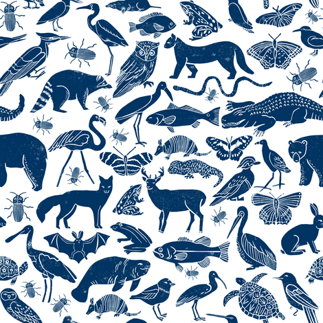 linocut animals // navy blue animals fabric zoo animals botanical design nursery baby kids fabric andrea lauren design fabric by andrea_lauren on Spoonflower - custom fabric