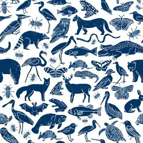 linocut animals // navy blue animals fabric zoo animals botanical design nursery baby kids fabric andrea lauren design
