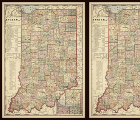 Indiana map, vintage, small fabric by svester on Spoonflower - custom fabric