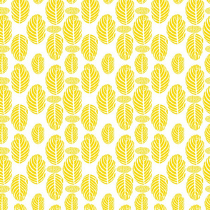 Topical Leaf Block Print Yellow