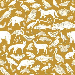 linocut animals // ochre mustard yellow fabric animals botanical fabric baby nursery baby design