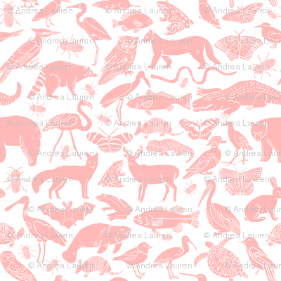 linocut animals // pink animal fabric baby nursery andrea lauren fabric baby zoo botanical fabric