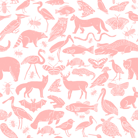 linocut animals // pink animal fabric baby nursery andrea lauren fabric baby zoo botanical fabric fabric by andrea_lauren on Spoonflower - custom fabric