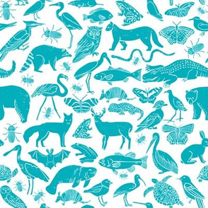 linocut animals // animal fabric teal botanical zoo design fabric andrea lauren fabrics