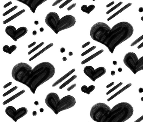 Hearts modern black and white fabric by howjoyful on Spoonflower - custom fabric