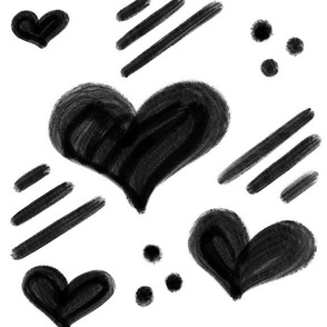 Hearts modern black and white