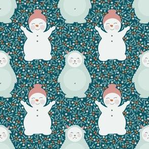 Yeti and snowman
