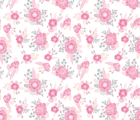 Pink floral fabric cute baby nursery design fabric for Floral nursery fabric