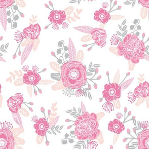 pink floral fabric cute baby nursery design