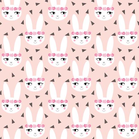 bunny rabbit blush baby nursery fabric cute baby design fabric by charlottewinter on Spoonflower - custom fabric