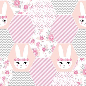 bunny cheater quilt cute bunny florals baby girl bunny floral crown