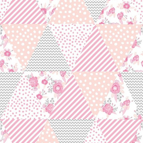 cheater quilt triangle quilt floral peach pink quilts