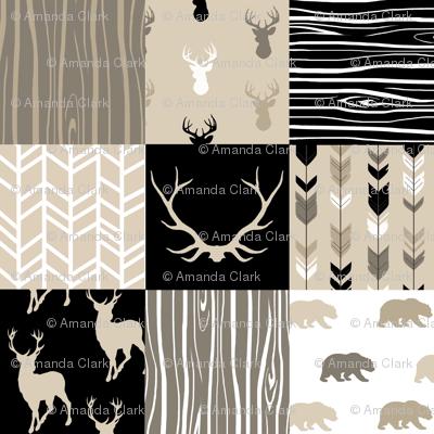 Wholecloth Quilt - Midnight Woodland - Neutrals Black, tan, brown Elk, Arrows, Wood