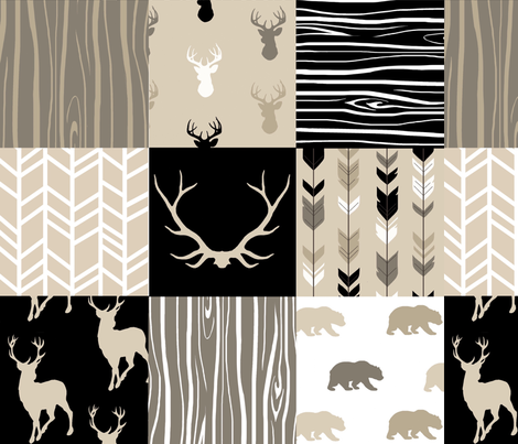 Wholecloth Quilt - Midnight Woodland - Neutrals Black, tan, brown Elk, Arrows, Wood fabric by sugarpinedesign on Spoonflower - custom fabric