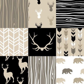 Wholecloth Quilt - Midnight Woodland - Neutrals Black, tan, brown Elk, Arrows, Wood