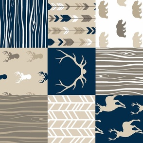 Wholecloth Quilt - navy, brown, tan, Rustic Woodland Baby Quilt - deer, antlers, arrows