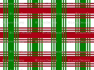 Christmas Plaid Checked Ribbon Stripes