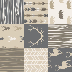 Patchwork Quilt - rustic Midnight Woodland Deer, tan, grey