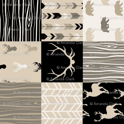 Wholecloth Faux Quilt- midnight Woodland - Black and Tan deer, antlers, arrows