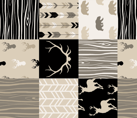 Wholecloth Faux Quilt- midnight Woodland - Black and Tan deer, antlers, arrows fabric by sugarpinedesign on Spoonflower - custom fabric