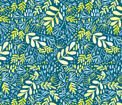 Garden at Dusk - Teal background fabric by kitcronk on Spoonflower - custom fabric