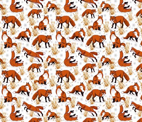 red_fox_snow_day fabric by leroyj on Spoonflower - custom fabric