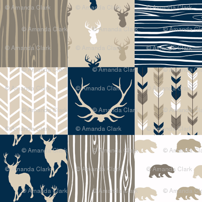 Whole cloth Quilt - Cedar Ridge - navy, tan, brown deer, arrows, antlers woodland patchwork