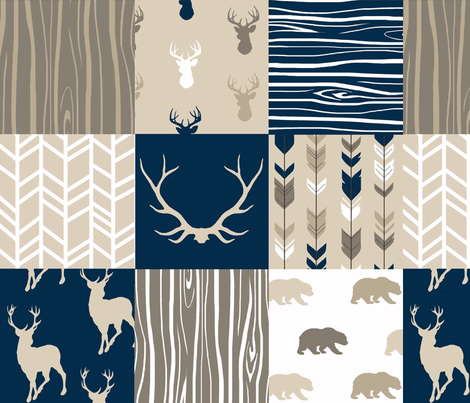 Whole cloth Quilt - Cedar Ridge - navy, tan, brown deer, arrows, antlers woodland patchwork fabric by sugarpinedesign on Spoonflower - custom fabric