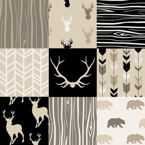 Wholecloth Quilt - Midnight Woodland - deer, antlers, baby boy quilt