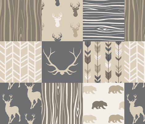 Wholecloth Quilt - Rustic Midnight Woodland Deer-  fabric by sugarpinedesign on Spoonflower - custom fabric