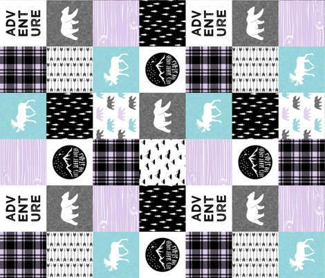 the happy camper wholecloth (90) || teal & purple  fabric by littlearrowdesign on Spoonflower - custom fabric