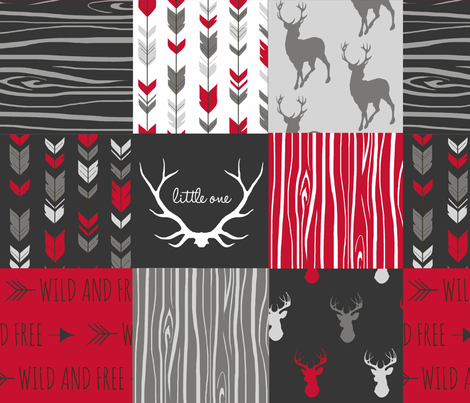Wholecloth Quilt Red Charcoal Grey Faux Quilt With Deer