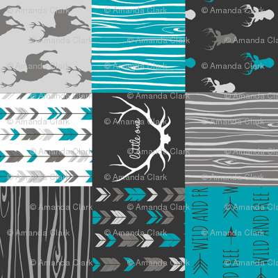 WholeCloth Quilt- Ironwood --teal, charcoal ,grey deer, antler, arrows, Woodgrain patchwork squares-ch-ch-ch