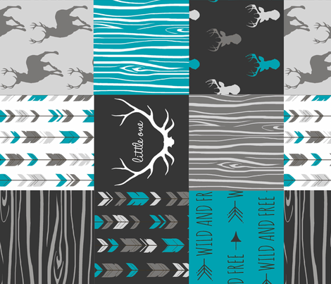 WholeCloth Quilt- Ironwood --teal, charcoal ,grey deer, antler, arrows, Woodgrain patchwork squares-ch-ch-ch fabric by sugarpinedesign on Spoonflower - custom fabric