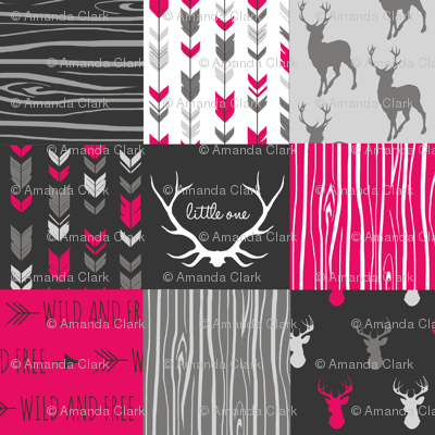 WholeCloth Quilt- Fuchsia, charcoal ,grey deer, antler, arrows, Woodgrain patchwork squares-ch-ch-ch-ch