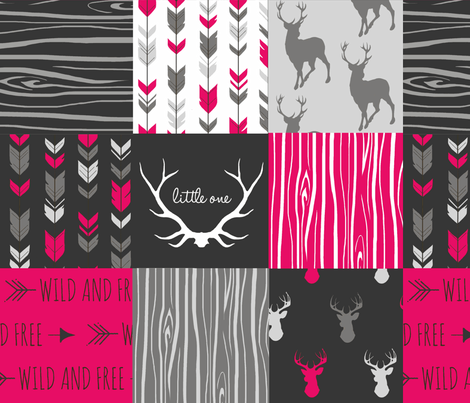 WholeCloth Quilt- Fuchsia, charcoal ,grey deer, antler, arrows, Woodgrain patchwork squares-ch-ch-ch-ch fabric by sugarpinedesign on Spoonflower - custom fabric