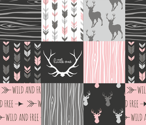 WholeCloth Quilt- pink, black ,grey antler, arrows Woodgrain patchwork  fabric by sugarpinedesign on Spoonflower - custom fabric