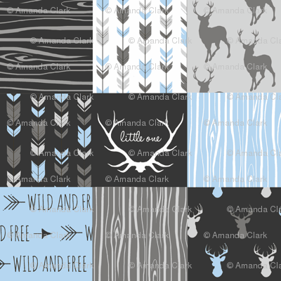 WholeCloth Quilt- Baby Blue, black and Grey deer, antler, Woodgrain patchwork squares