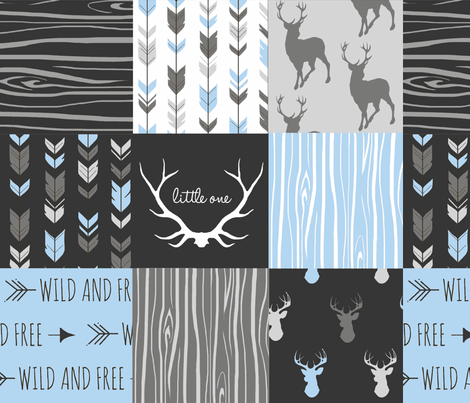 WholeCloth Quilt- Baby Blue, black and Grey deer, antler, Woodgrain patchwork squares fabric by sugarpinedesign on Spoonflower - custom fabric