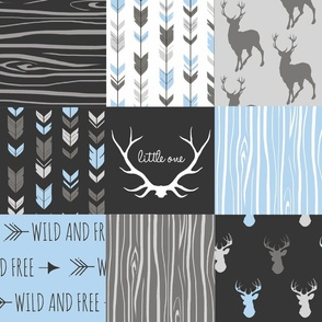 WholeCloth Quilt- Baby Blue, black and Gey deer, antler, Woodgrain patchwork squares