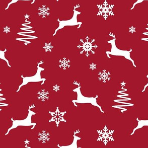 reindeer on dark red holiday fabric