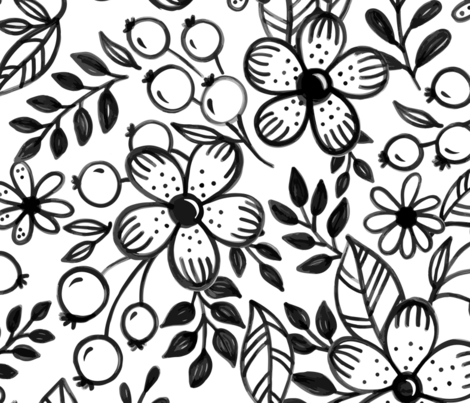 Large floral sketch - Large scale fabric by howjoyful on Spoonflower - custom fabric