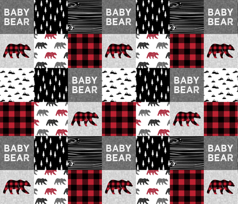 baby bear patchwork quilt top || buffalo plaid fabric by littlearrowdesign on Spoonflower - custom fabric